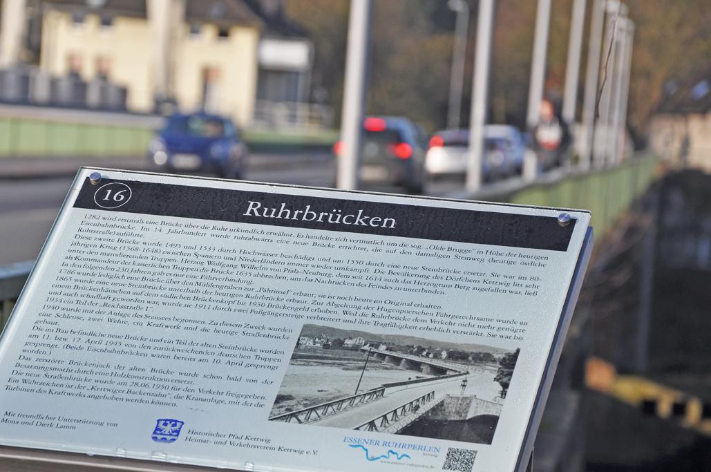 Infotafel an der Ruhrbrücke in Kettwig