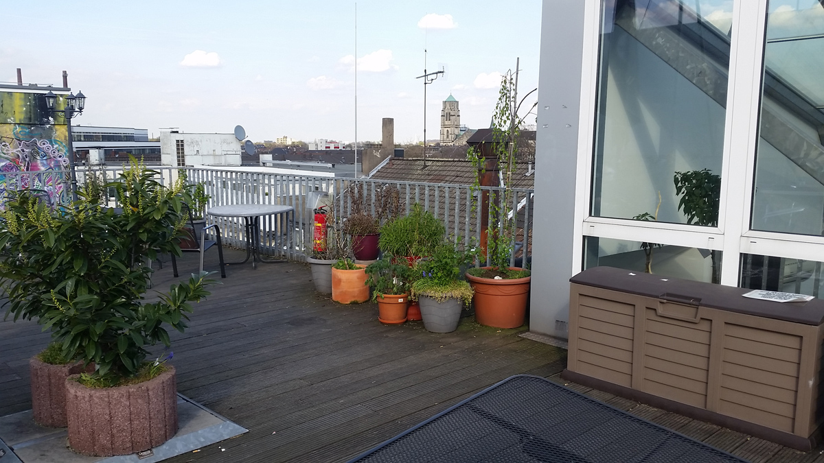 Dachterrasse des Unperfekfhaus in der Essener City