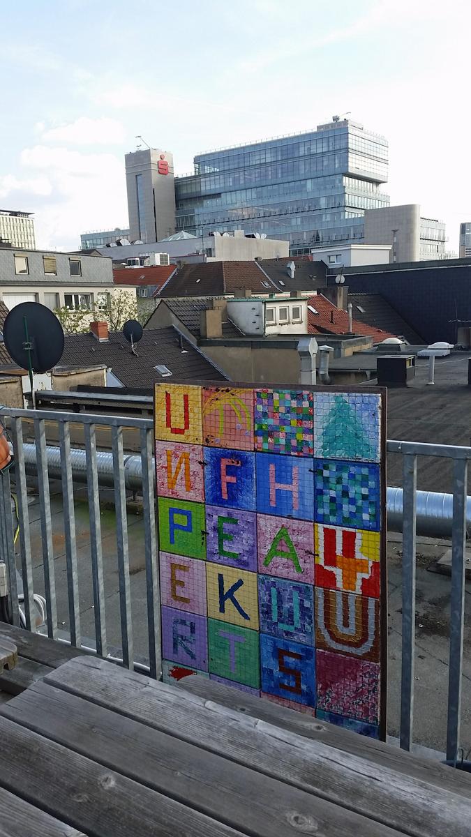 Aussicht von der Dachterrasse des Unperfekthaus auf die Essener City