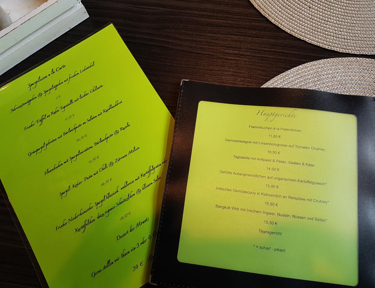 Speisekarte und Saisonkarte