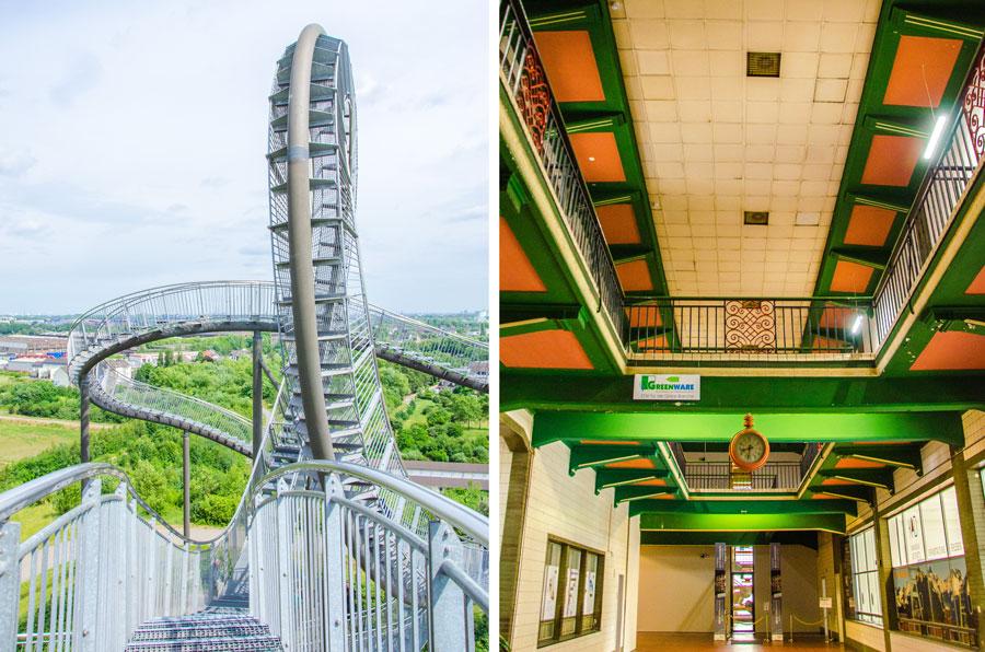 Die Fotos zeigen Tiger and Turtle in Duisburg und das Besucherzentrum Hoheward an der Halde Hoheward in Herten.
