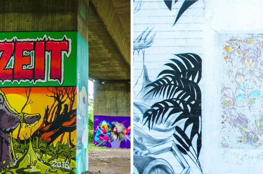 Coole Graffiti unter der Autobahn und in verwinkelten Ecken