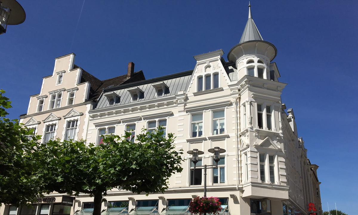 Das Foto zeigt ein Haus auf dem Markt in Recklinghausen, ein Herzstück der Stadt
