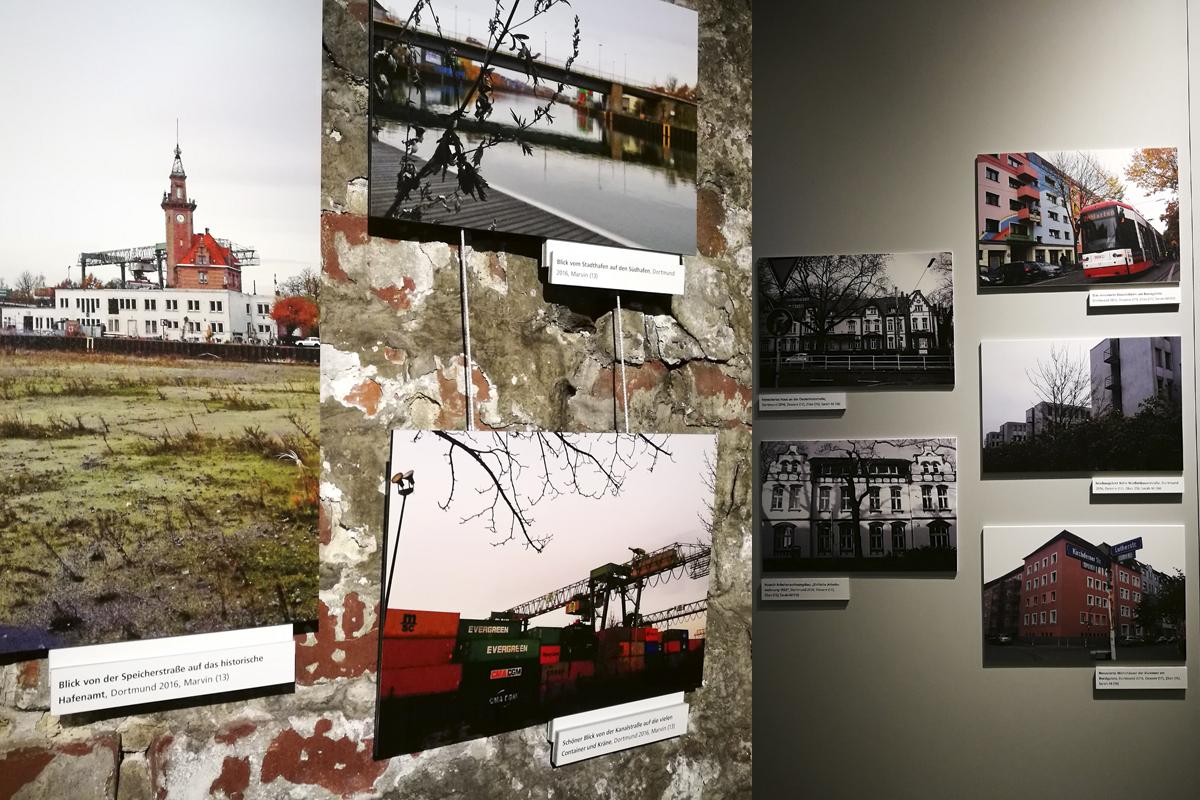 Das Foto zeigt die Fotoausstellung der Dortmunder Schüler und den bildlichen Vergleich der Dortmunder Nordstadt von früher und heute.