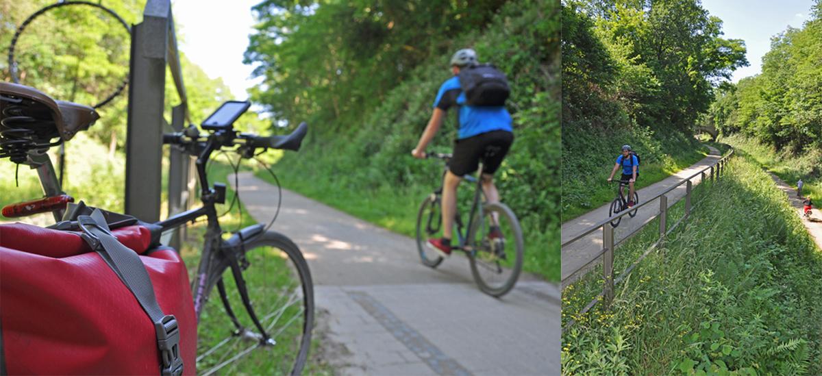 """Das Foto zeigt Blogautor Florian auf seinem Fahrrad am südlichsten Punkt der """"Von Ruhr zu Ruhr-Tour"""""""