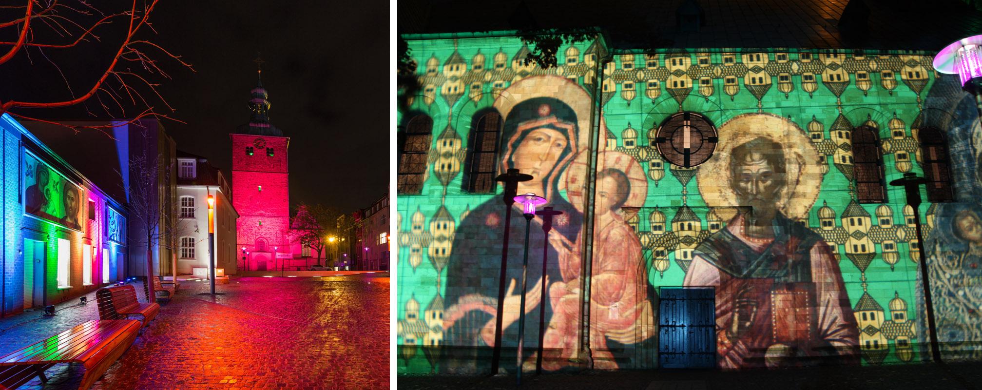 Das Bild zeigt die beleuchteten Fassaden des Ikonenmuseums Recklinghausen und der Pfarrkirche St. Peter