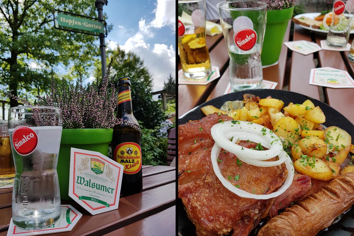 Das Foto zeigt Speisen und Getränke im Brauhaus Urfels in Duisburg