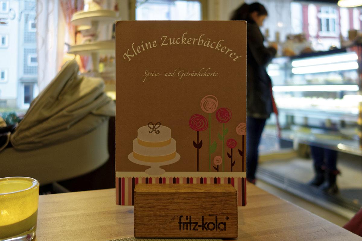 Das Foto zeigt die Speisekarte der Kleinen Zuckerbäckerei in Bochum