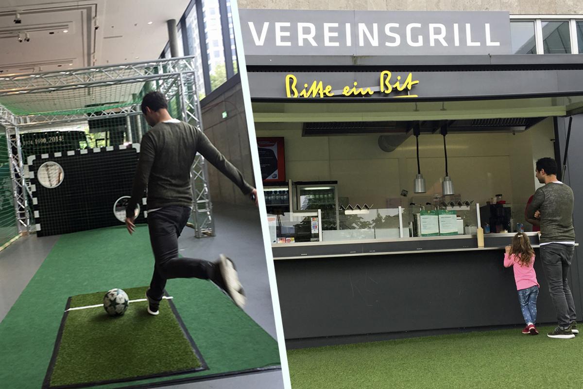 Das Foto zeigt das Torwandschießen und den Vereinsgrill im Deutschen Fußballmuseum