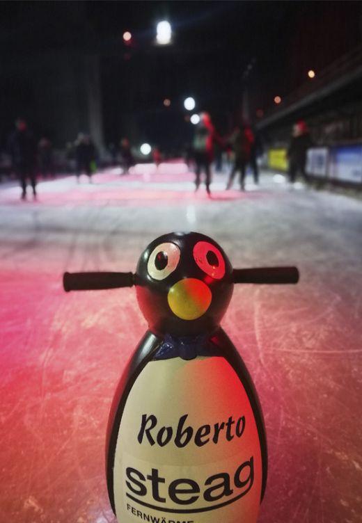 Das Foto zeigt einen Pinguin, der auf der Zollverein Eisbahn als Eislaufhilfe dient