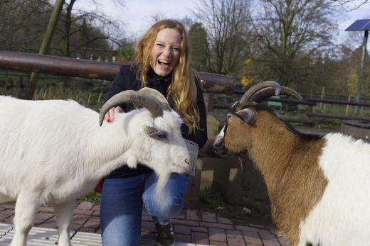 Das Foto zeigt Bloggerin Rebecca mit zwei Ziegen im Grugapark Essen