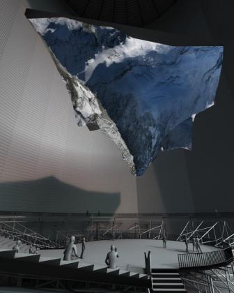 Das Foto zeigt eine Animation der Plastik des Matterhorns im Gasometer Oberhausen