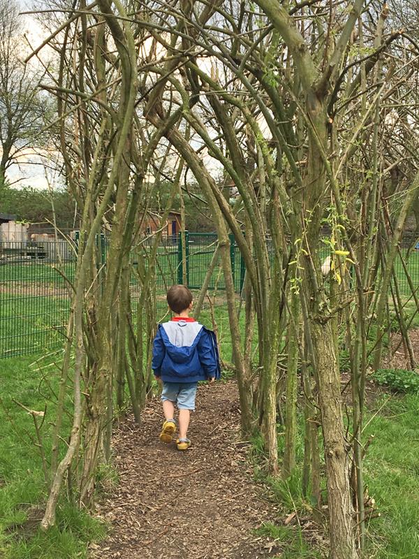Das Bild zeigt einen kleinen Jungen in einem Weidengang