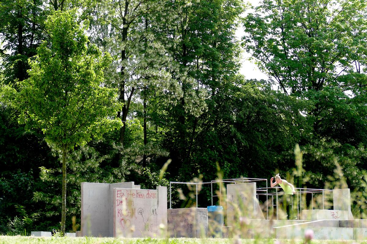 Das Foto zeigt eine Parkouranlage im Bergpark