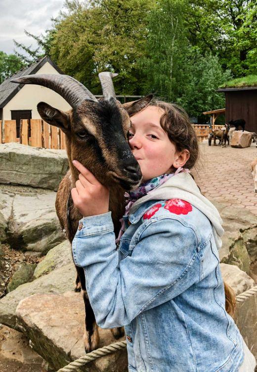 Das Foto zeigt ein Kind mit Ziege im Streichelzoo des Tierpark Bochum