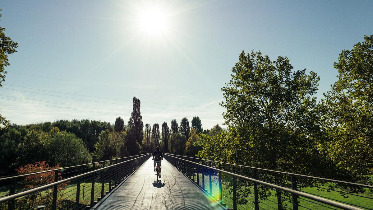 Das Bild zeigt eine Brücke im Nordsternpark