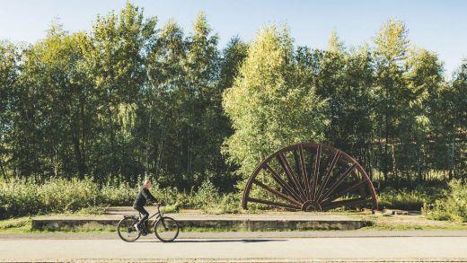 Das Bild zeigt ein Förderrad auf dem Gelände UNESCO-Welterbe Zollverein