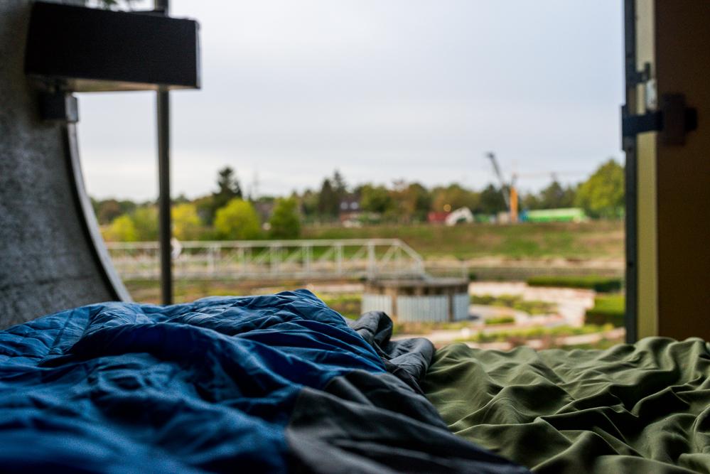 Das Foto zeigt den Ausblick aus einer Kanalröhre im BernePark in Bottrop