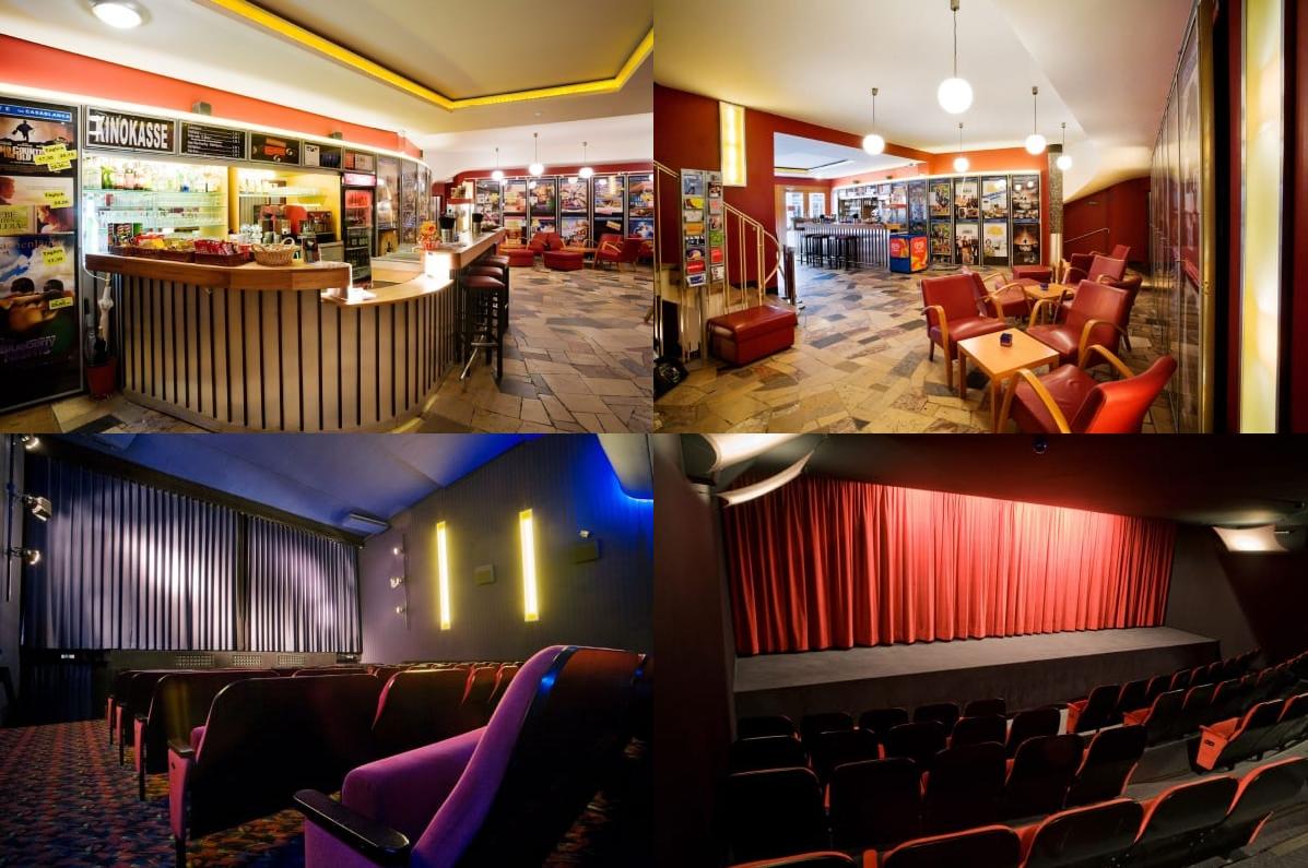 Das Bild zeigt eine Collage mit Bildern von verschiedenen Räumen des Kinos Casablanca