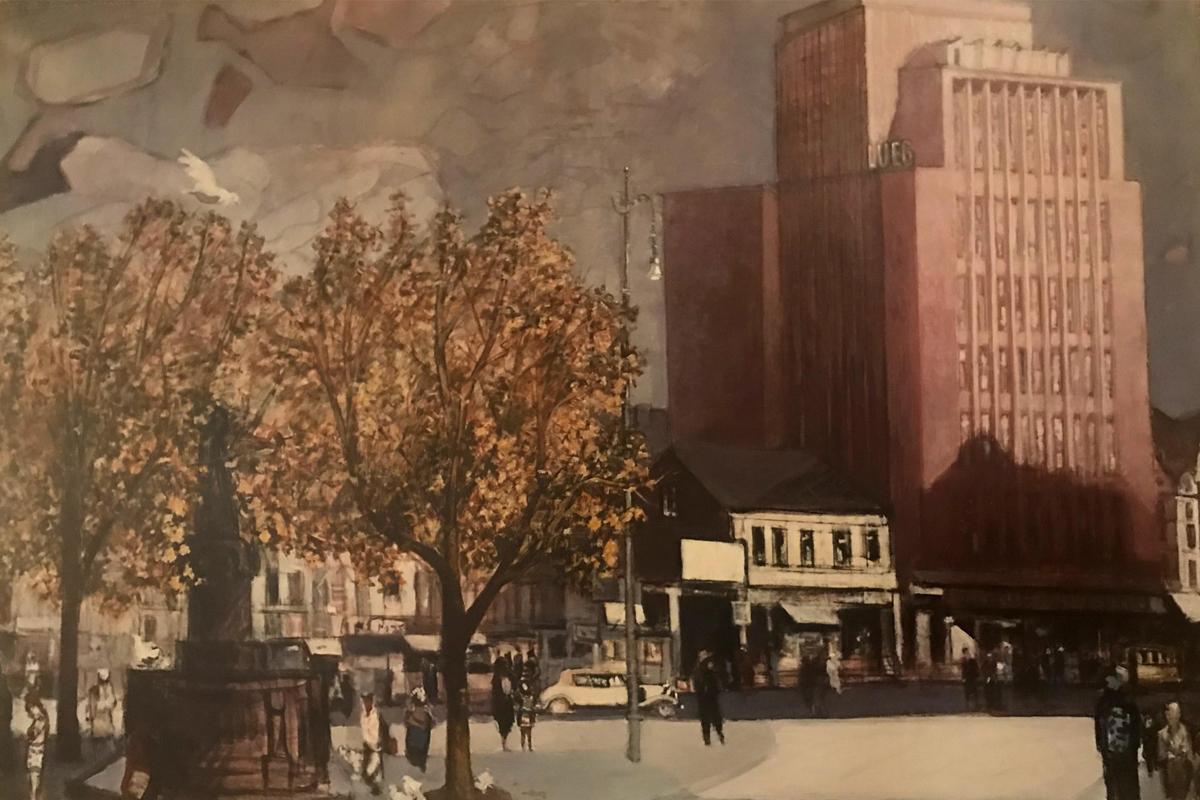 Auf dem Bild ist ein Gemälde zu sehen, auf dem zu erkennen ist wie das Kino früher aussah