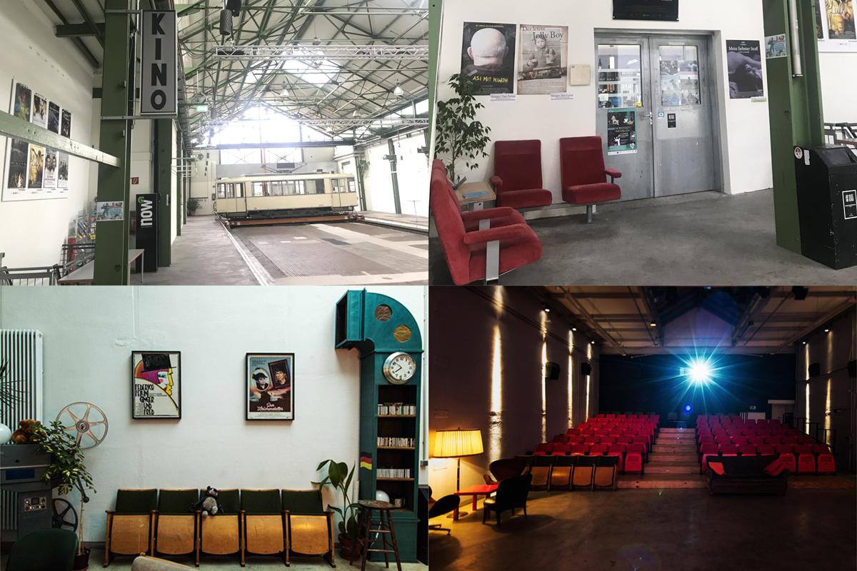 Das Bild zeigt eine Collage mit Bildern der verschiedenen Räume im Kino im Depot