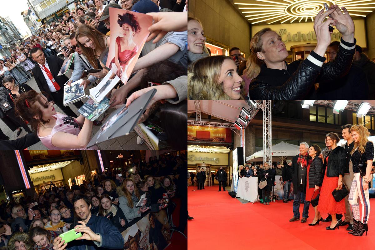 Das Bild zeigt eine Collage von Premierenfotos mit Prominenten