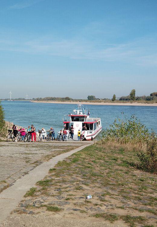 Das Foto zeigt eine Fähre am Rhein