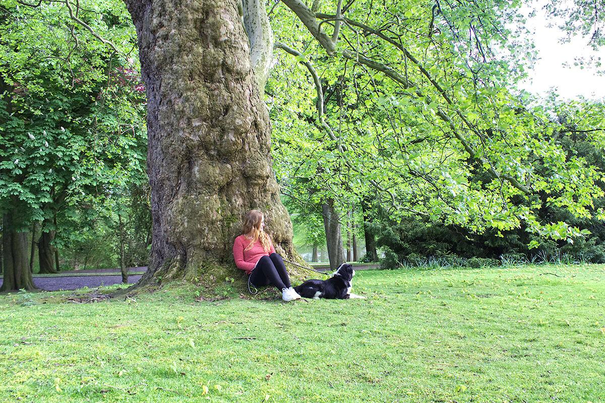 Das Foto zeigt Bloggerin Rebecca mit ihrem Hund Fino im Stadtpark Bochum, der sich bestens als Ausflugsziel für einen Kurzurlaub mit Hund im Ruhrgebiet eignet
