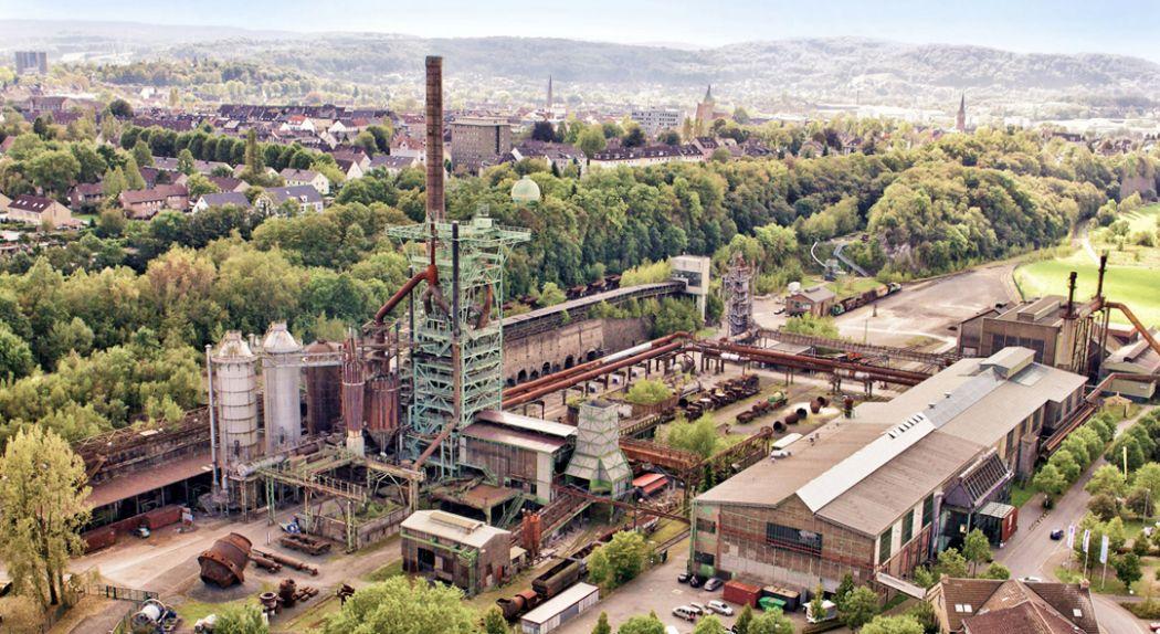 Das Bild zeigt eine Luftnahme der Henrichshütte Hattingen