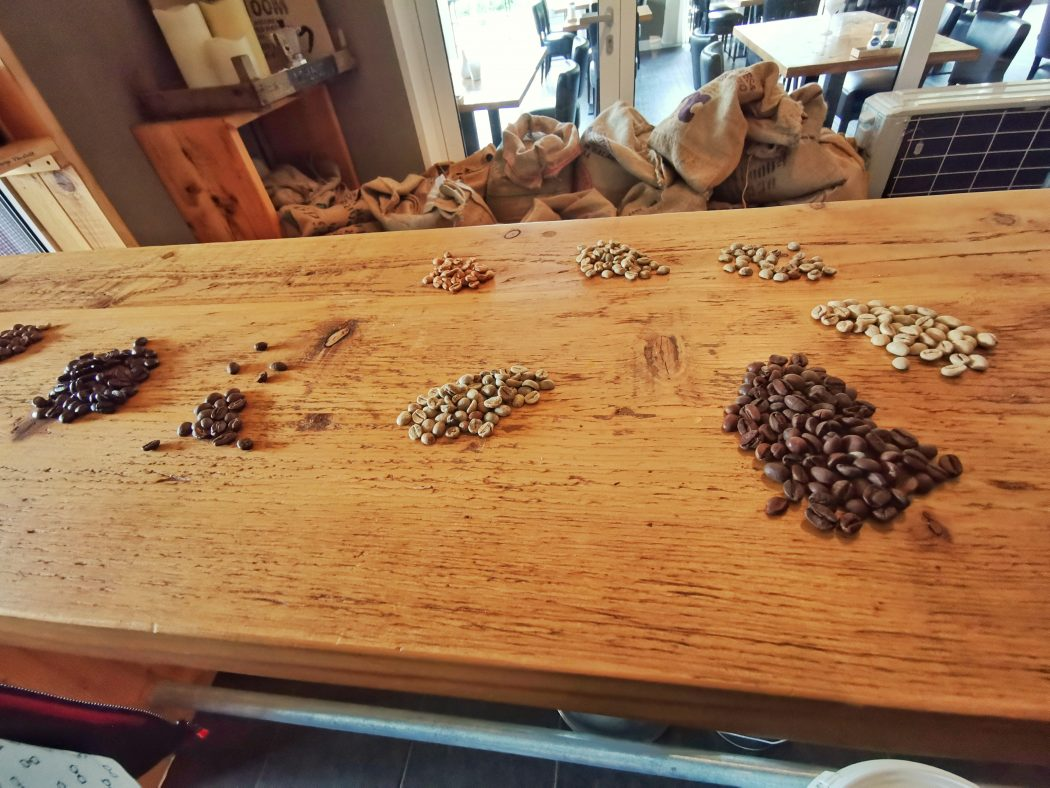 Das Bild zeigt Kaffeebohnen in der Kaffee