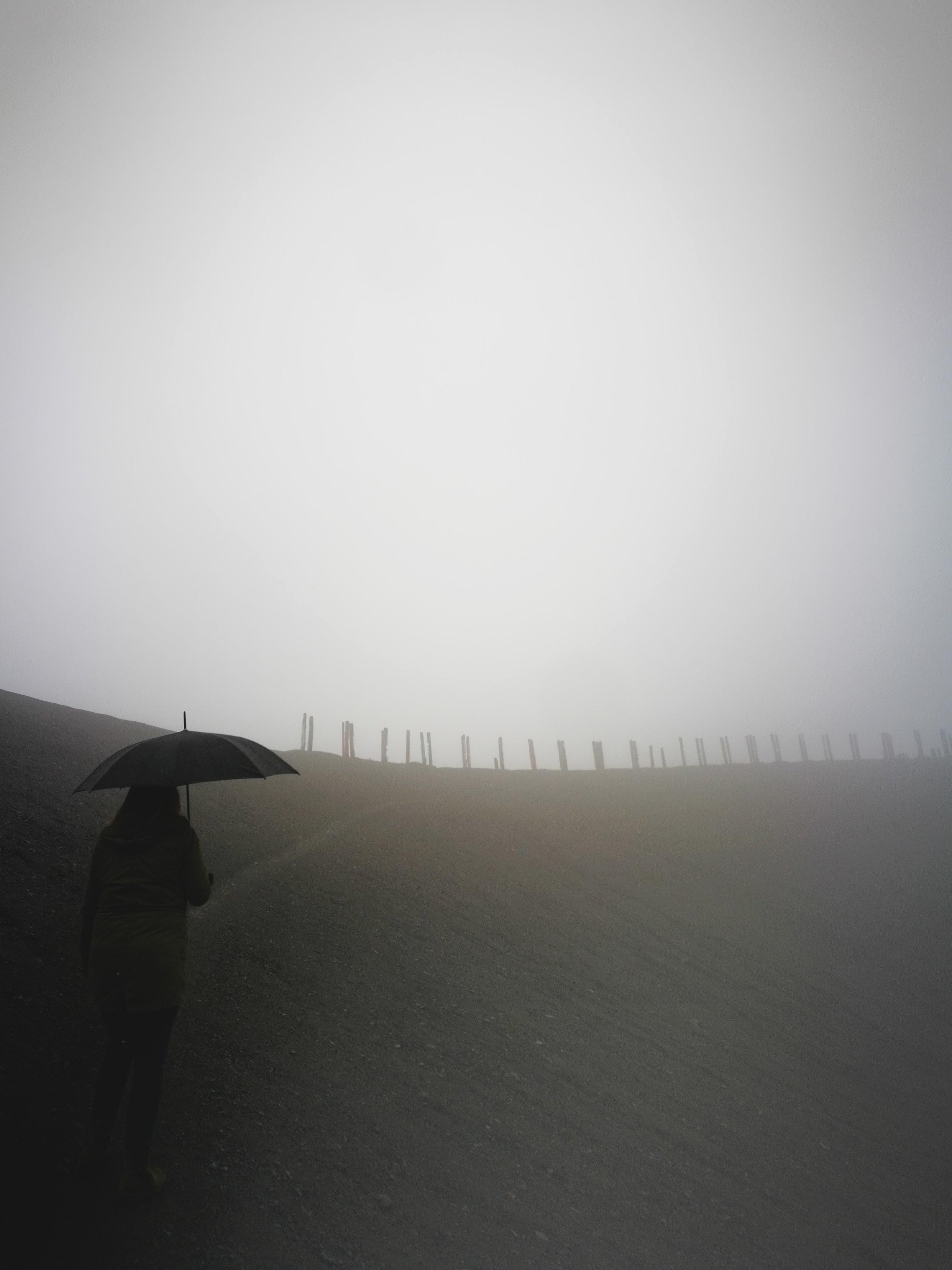 Das Foto zeigt die Halde Haniel bei Regen