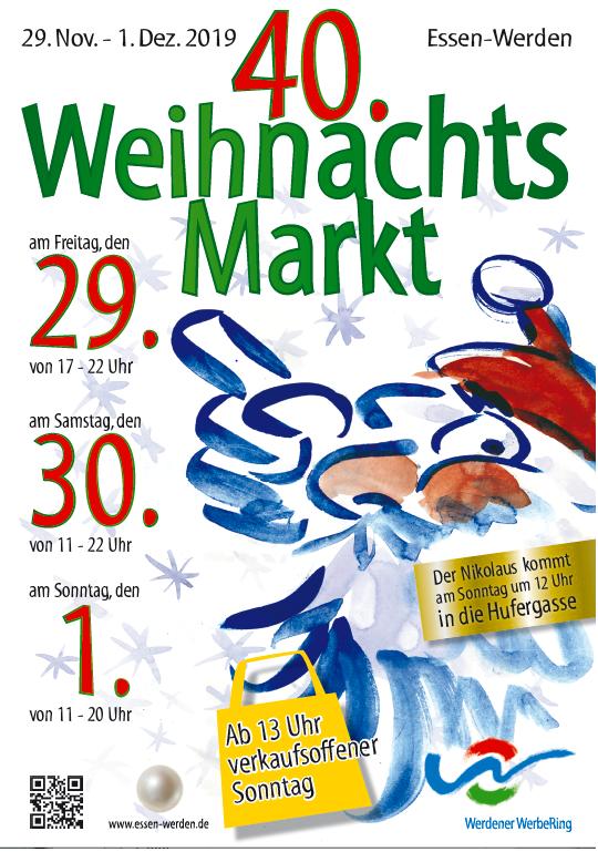 Das Foto zeigt das Plaket des Weihnachtsmarktes in Essen-Werden