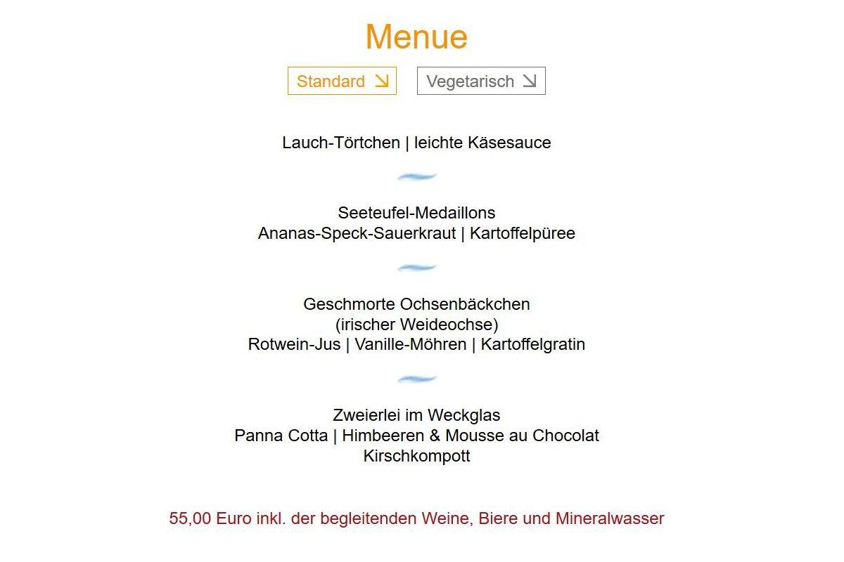 Das Foto zeigt die Abfolge des Standard-Menüs beim Restaurant-Karussell in der Aubergine Bochum