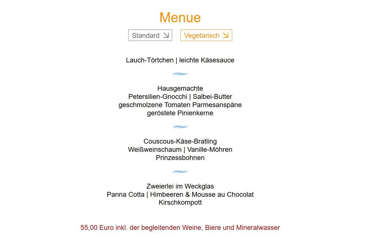 Das Foto zeigt die Abfolge des vegetarischen Menüs beim Restaurant-Karussell in der Aubergine Bochum