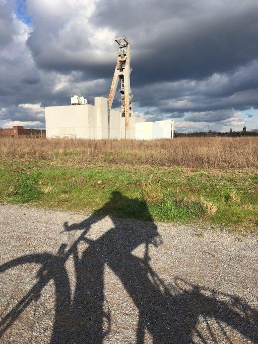 Das Foto zeigt den Schatten eines Radfahrers im radrevier.ruhr