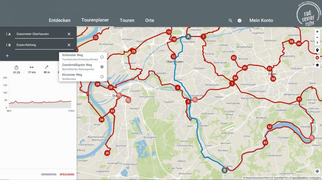 Das Foto zeigt die Tourenplanung im digitalen radtourenplaner.ruhr