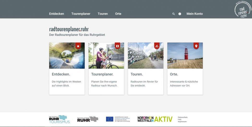Das Foto zeigt die vier Einstiegsmöglichkeiten zur Tourenplanung beim radtourenplaner.ruhr