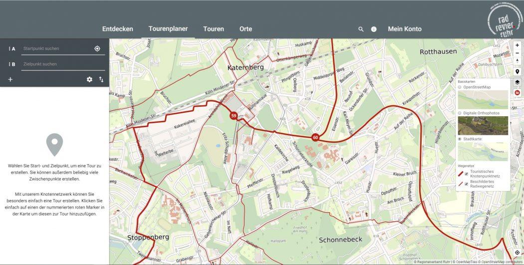 Das Foto zeigt eine Karte im digitalen radtourenplaner.ruhr