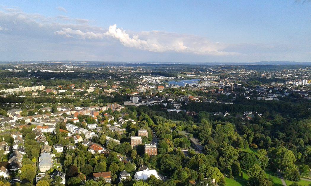 Das Foto zeigt den Panoramablick vom Florianturm im Westfalenpark Dortmund