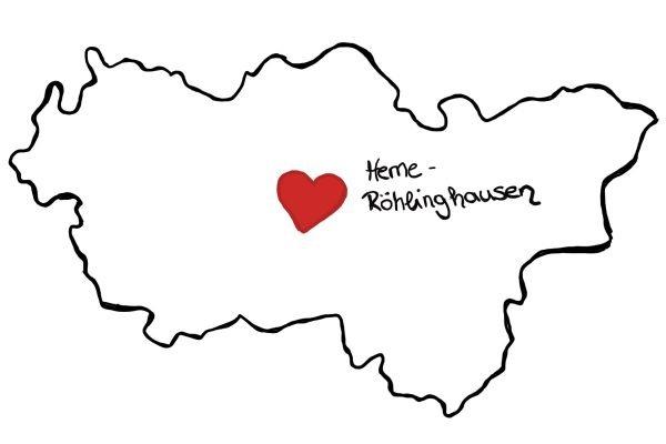 Das Foto zeigt eine Karte, auf der Herne-Röhlinghausen als Mittelpunkt des Ruhrgebiets eingezeichnet ist