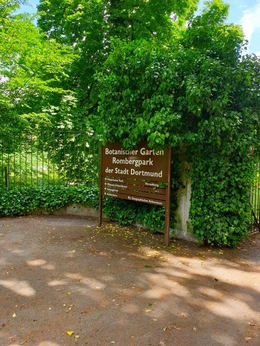 Das Bild zeigt das Eingangsschild vom Rombergpark