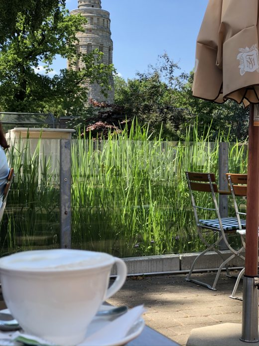 Ds Bild zeigt einen Cappuccino im Stadtpark Bochum