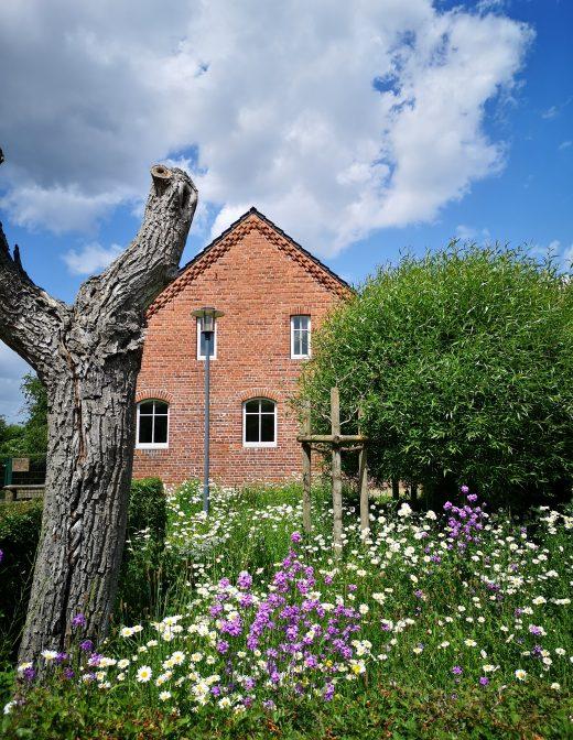 Das Bild zeigt ein Backsteinhaus mit Blumen davor.