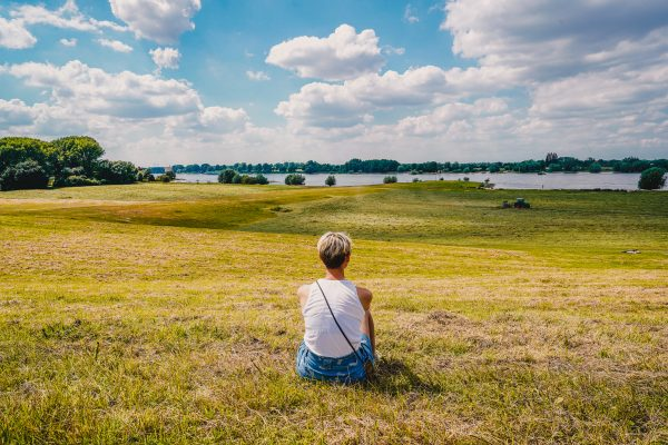 Das Bild zeigt Caro auf den großen Au-Wiesen des Rheins