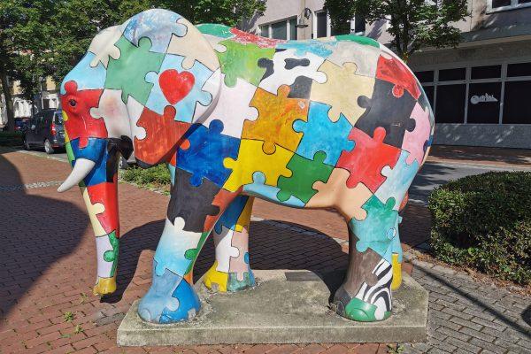 Das Foto zeigt eine Elefanten Skulptur in Hamm
