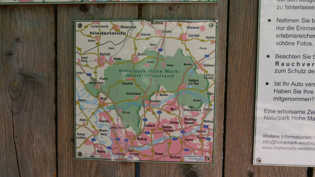 Dsa Bild zeigt eine Karte vom Naturpark Hohe Mark