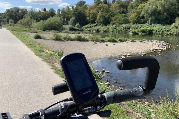 Das Foto zeigt ein Fahrrad Navigantionsgerät auf dem RuhrtalRadweg in Hattingen