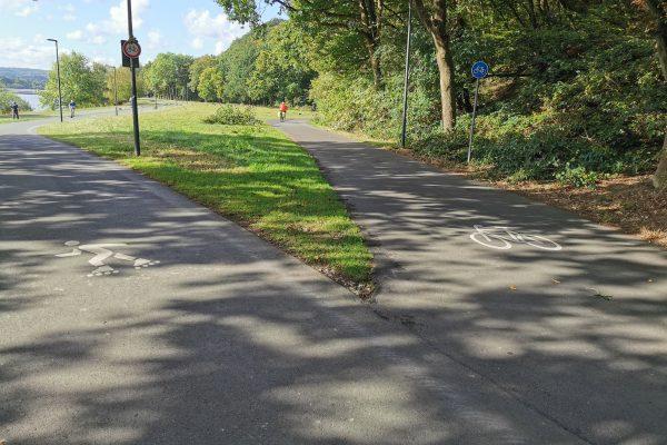 Das Foto zeigt die Radwege und Inlinestrecke am Kemnader See in Bochum