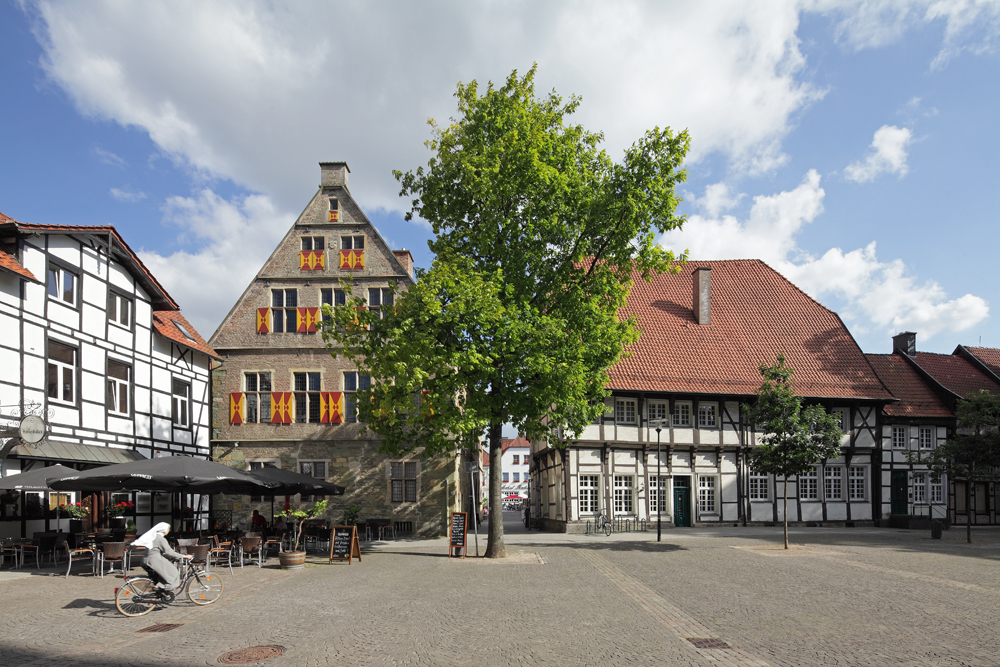 Das Foto zeigt den Marktplatz der historischen Altstadt von Werne