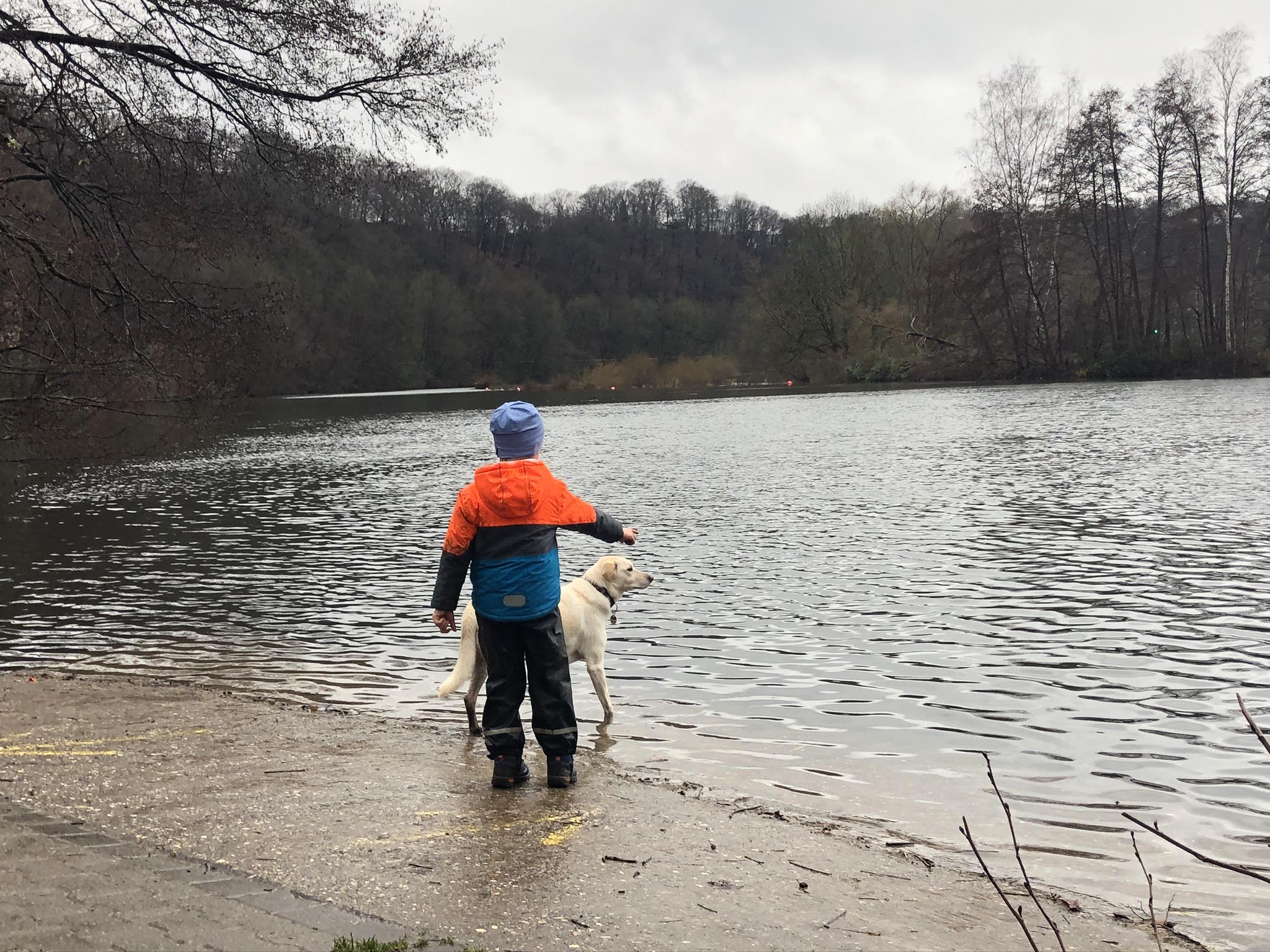 Mit Hund und Kind an der Ruhr am Fuße der Burgruine Hardenstein in Witten im Ruhrgebiet